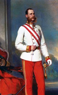 František Josef I. na obrazu Franza Xavera Winterhaltera z roku 1865.